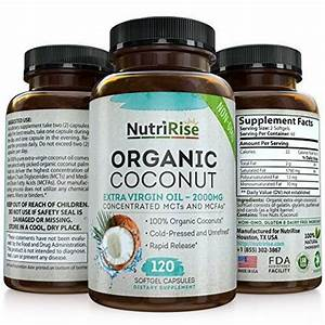 Organic Coconut Oil Capsules 2000 Mg  100  Pure Extra Virgin Coconut Oil  Cold