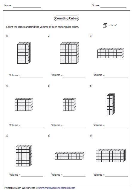 volume of a cube worksheet volume worksheets