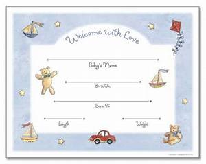baby kids stuff With boy birth certificate template
