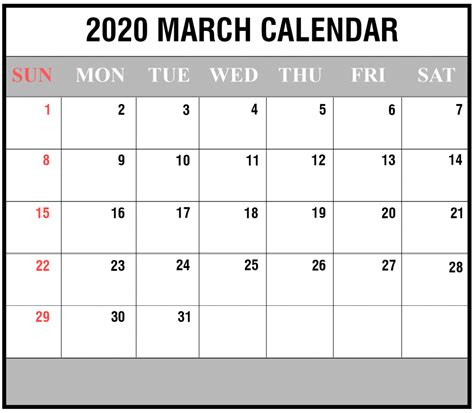 blank march calendar printable word excel