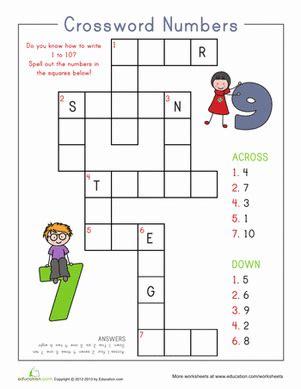 number crossword worksheet education 878 | number crossword counting numbers writing
