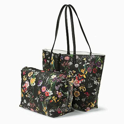 imoshion black floral saffiano texture giada  pc reversible    tote  bag ebay