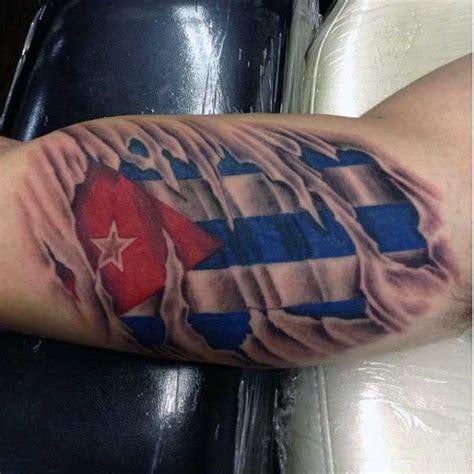 big   ripped skin tattoo  national flag tattoo