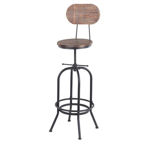 chaise de bar industriel ikayaa chaise de bar de style industriel en bois réglable
