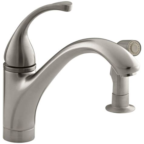 kohler forte single handle standard kitchen faucet  side sprayer  vibrant brushed nickel
