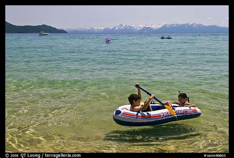 Lake Tahoe Inflatable Boats picture photo children playing in inflatable boat sand