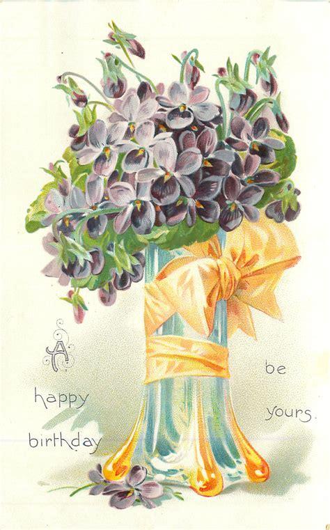 happy birthday   purple violets  blue glass