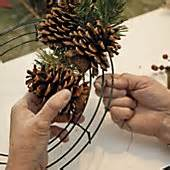 christmas wired ribbon make a pine cone wreath winter 2012 out here magazine