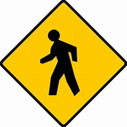 Pedestrian Sign Clipart Clip Walking Crosswalk Danger
