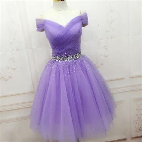 knee length  shoulder sleeves purple tulle homecoming dress