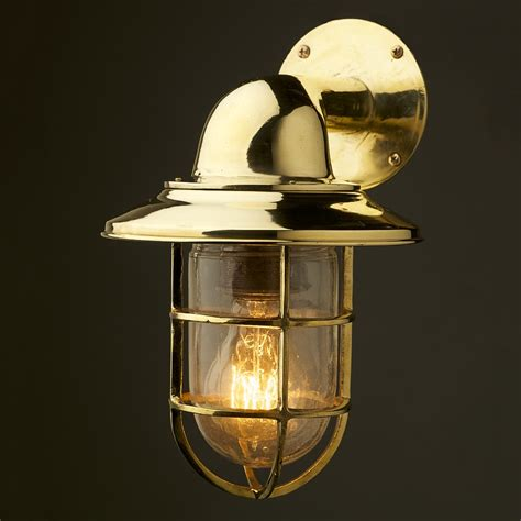 brass ship wall lights vintage ship brass shaded bulkhead wall light