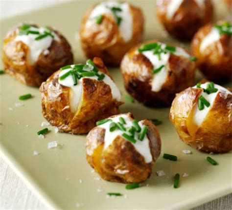 baked canapes mini jacket potatoes recipe food