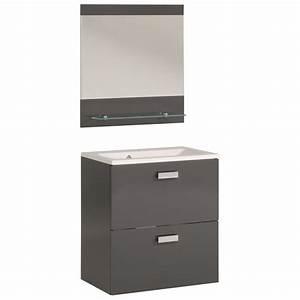 Meuble Vasque 60 Cm : ensemble meuble vasque miroir 60cm deluxe gris ~ Edinachiropracticcenter.com Idées de Décoration