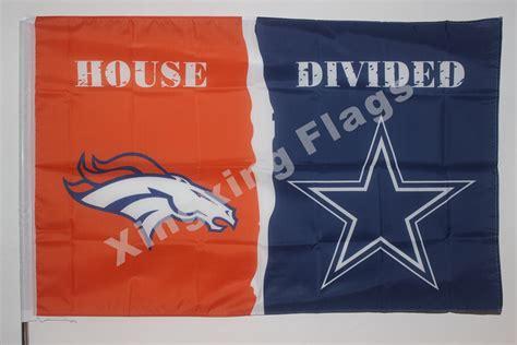 denver broncos dallas cowboys house divided flag 3ft x 5ft