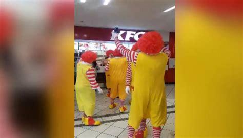 ronald kfc mcdonalds gang angry moment invade newshub clowns