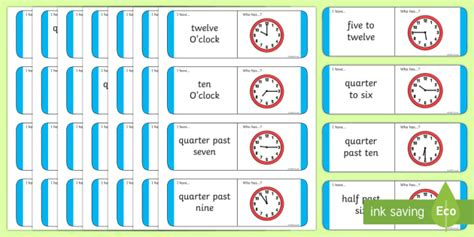 O'clock, Half Past, Quarter Past And Quarter To Loop Cards With Five Minutes