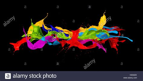 Abstract Black Color Splash by Splashing Color Ink On Black Stock Photos Splashing