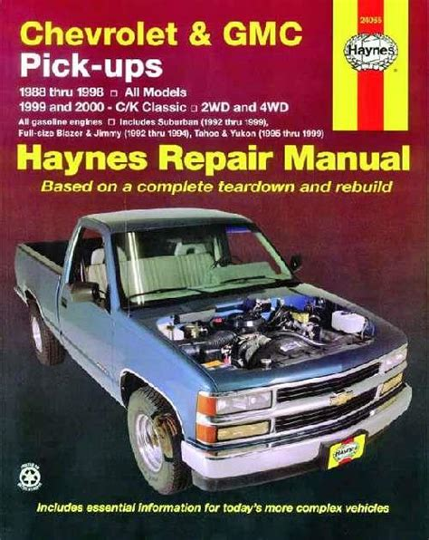 free car repair manuals 1998 gmc suburban 2500 seat position control chevrolet gmc pick ups 2wd 4wd 1988 2000 haynes owners service repair manual 1563924269