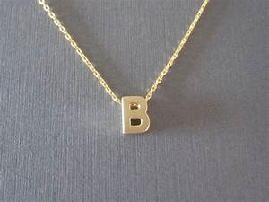 Gold block letter initial necklace for Block letter initial necklace