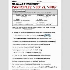 English Grammar Participle Adjectives Wwwallthingsgrammarcomparticipleadjectivesedvsing