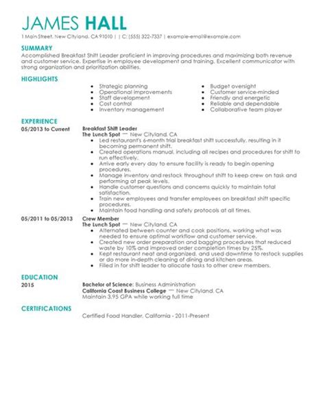 shift leader description 36 kfc description human