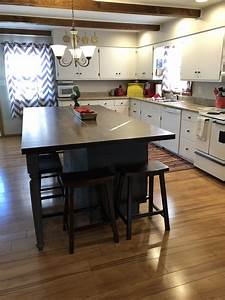 Diy, Kitchen, Island, Made, With, Stock, Base, Cabinets, And, Butcher, Block, Top