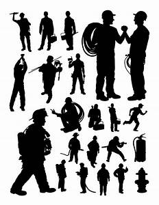 Fireman And Plumber Silhouette  Vector