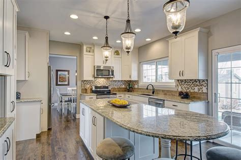 beautiful remodeled kitchen features elongated kitchen