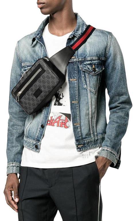 gucci belt monogram web fanny pack waist pouch gj black coated canvas cross body bag tradesy
