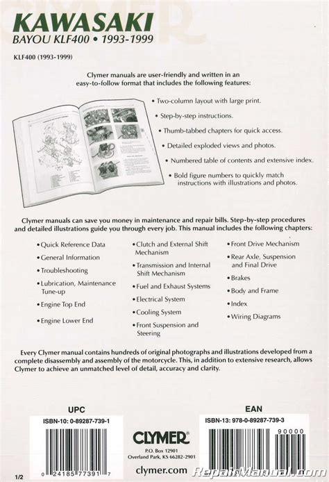 1993 1999 kawasaki klf400 bayou atv repair manual