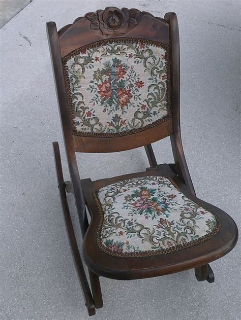 Antique Rocking Chair Value by Vintage Folding Rocking Chair Wood Sewing Nursing Rocker