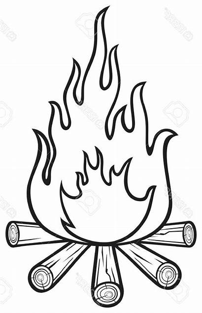 Fire Flame Clipart Drawing Flames Coloring Campfire