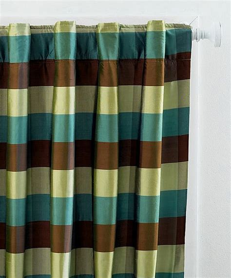 blue lettuce plaid silk curtain panel