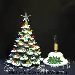 tabletop ceramic christmas tree snow tipped branches 16 inch tall texasceramics seasonal on