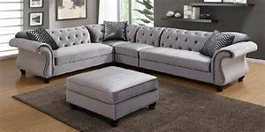 Sectional sofa with nailhead trim neysa contemporary for Grey sectional sofa with nailhead trim