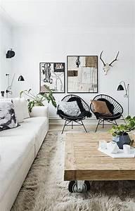 Idée Déco Salon Scandinave : d co salon salon design scandinave chaises en fer noir table basse bois brut tapis en fo ~ Melissatoandfro.com Idées de Décoration