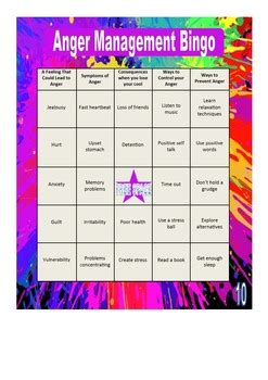 anger management bingo  perfects products teachers
