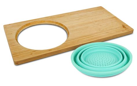 island bamboo   sink cutting board  collapsible colander xx cutlery