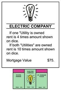 """Jun 08, 2021 · despite its high rates and their opportunity to help struggling virginians navigate inflated electric bills soon to be in the top 5 highest in america, dominion instead turned in the smallest. MONOPOLY ELECTRIC COMPANY TITLE DEEDS POSTER - 12"""" x 18"""" - REALLY COOL! 