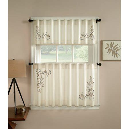 CHF & You Scroll Leaf Kitchen Curtains, Set of 2   Walmart.com