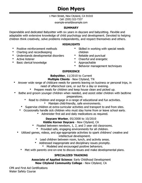 Using Babysitting On A Resume by Resume Exle Personal Services Sle