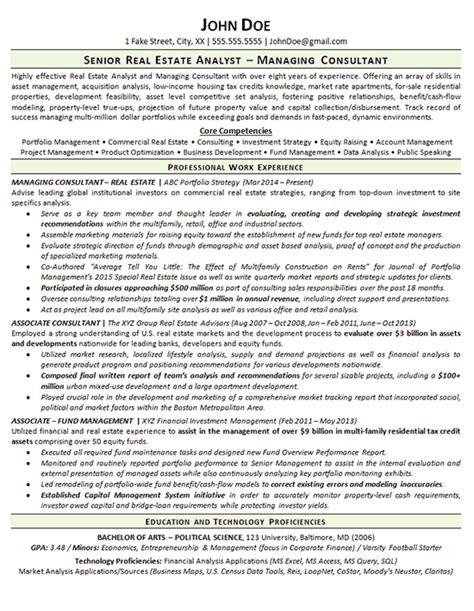 real estate resume  consultant