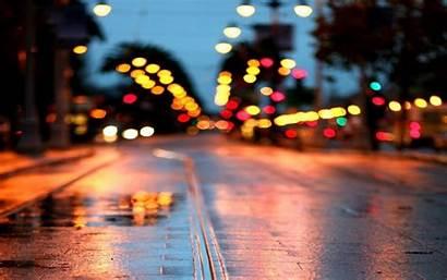 Night Street Rainy Desktop Wallpapers Mac Pc