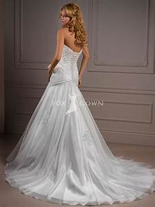 Elegant and lovely organza dropped waist wedding dresses for Dropped waist wedding dress