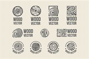 Set of wood rings texture logo ~ Objects on Creative Market