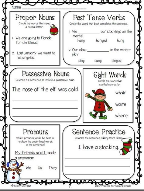 2nd grade grammar christmas common math and language arts daily practice for second grade december