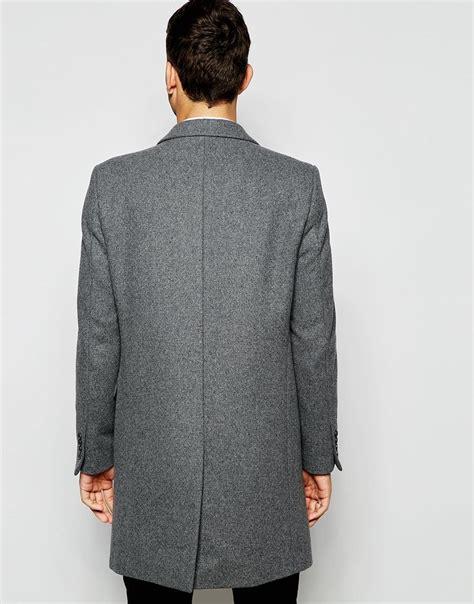 light grey wool lyst asos wool overcoat in light grey in gray for men