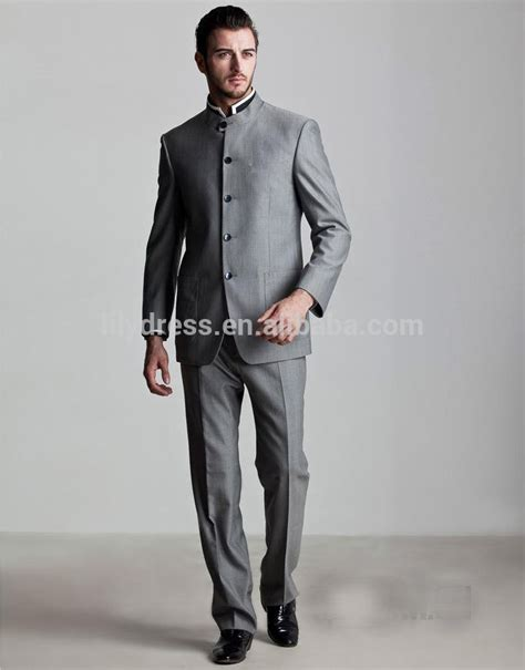 customized  single breasted gray chinese style stand collar mans business suits jacket
