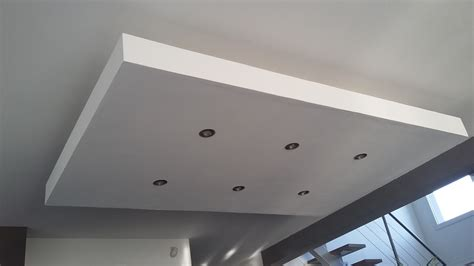 faux plafond suspendu placo d 233 roch 233 plafond descendu suspendu ilot central decaissement design spots caisson placo platre