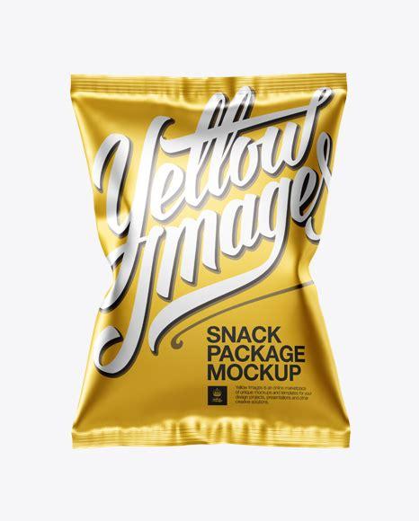 Шаблоны для фотошоп / прочее. Matte Metallic Snack Package Mockup - Front View in Flow ...